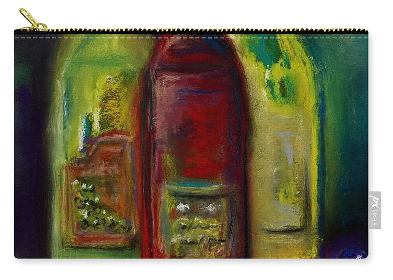 Wine Carry-all Pouch featuring the painting Three More Bottles Of Wine by Frances Marino