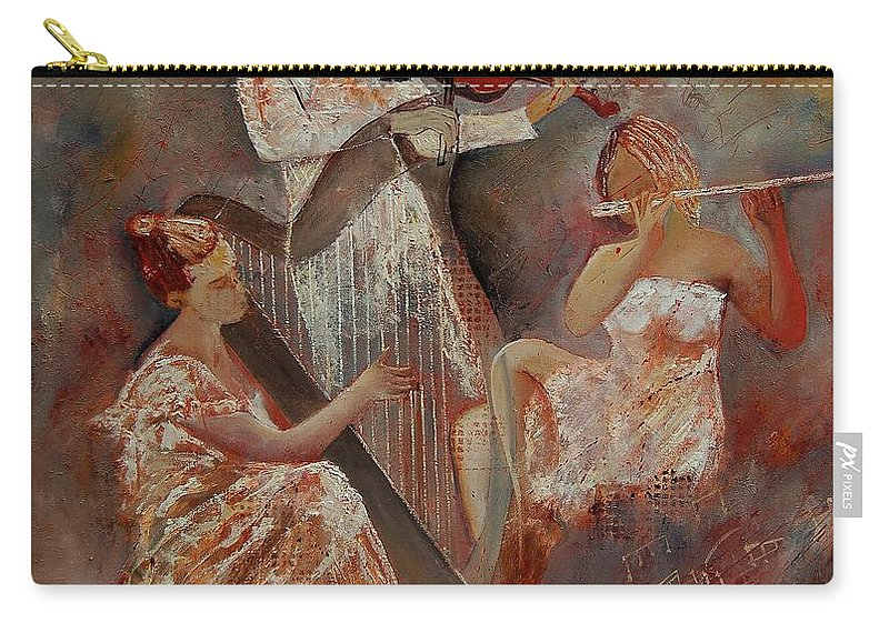 Music Carry-all Pouch featuring the painting Three Musicians by Pol Ledent