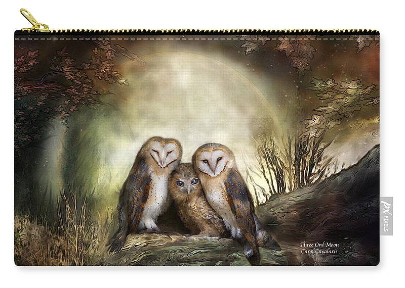 Owl Carry-all Pouch featuring the mixed media Three Owl Moon by Carol Cavalaris