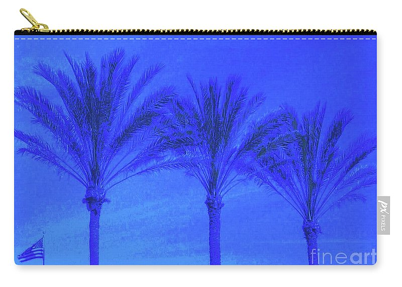 Blue Carry-all Pouch featuring the photograph Three Palms And One Flag by Dana Peters-Colley