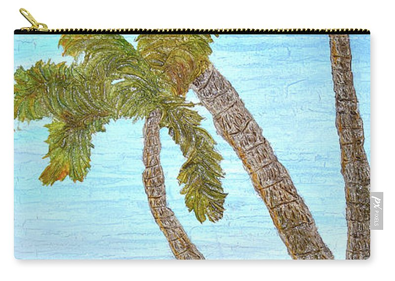 Three Palms At The Beach Carry-all Pouch featuring the painting Three Palms At The Beach by Christine Dekkers