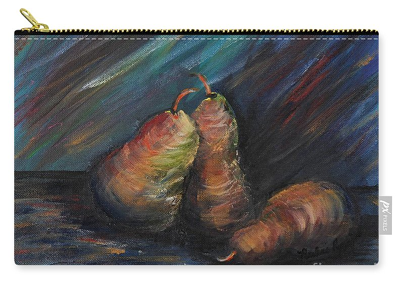 Pears Fruit Stilllife Blue Red Gold Orange Carry-all Pouch featuring the painting Three Pears by Nadine Rippelmeyer