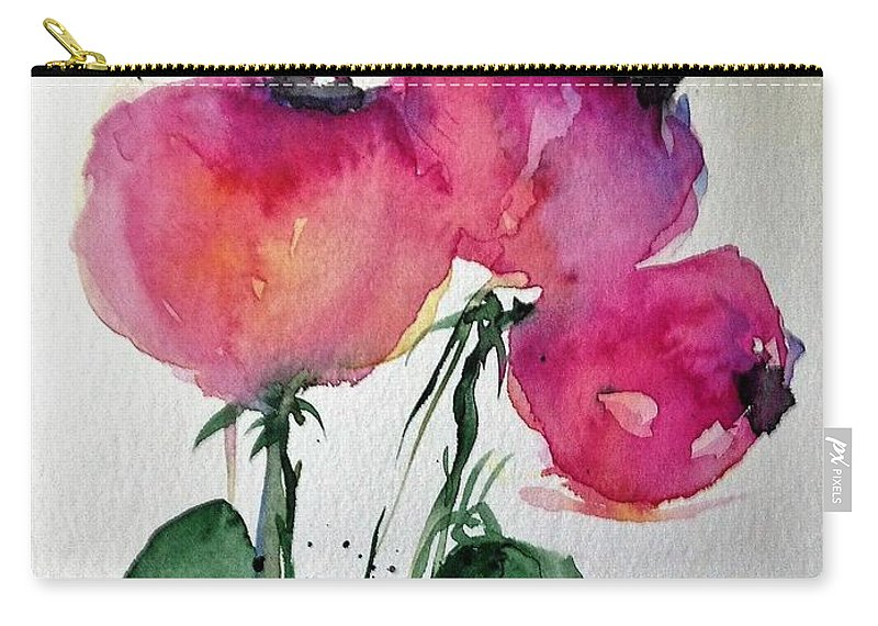Flower Carry-all Pouch featuring the painting Three Pink Flowers 2 by Britta Zehm