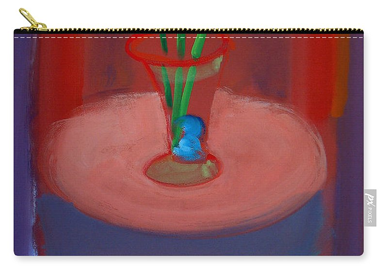 Poppies Carry-all Pouch featuring the painting Three Poppies In A Vase by Charles Stuart
