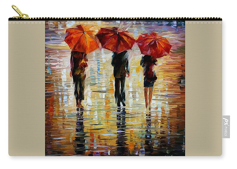 Cityscape Carry-all Pouch featuring the painting Three Red Umbrella by Leonid Afremov