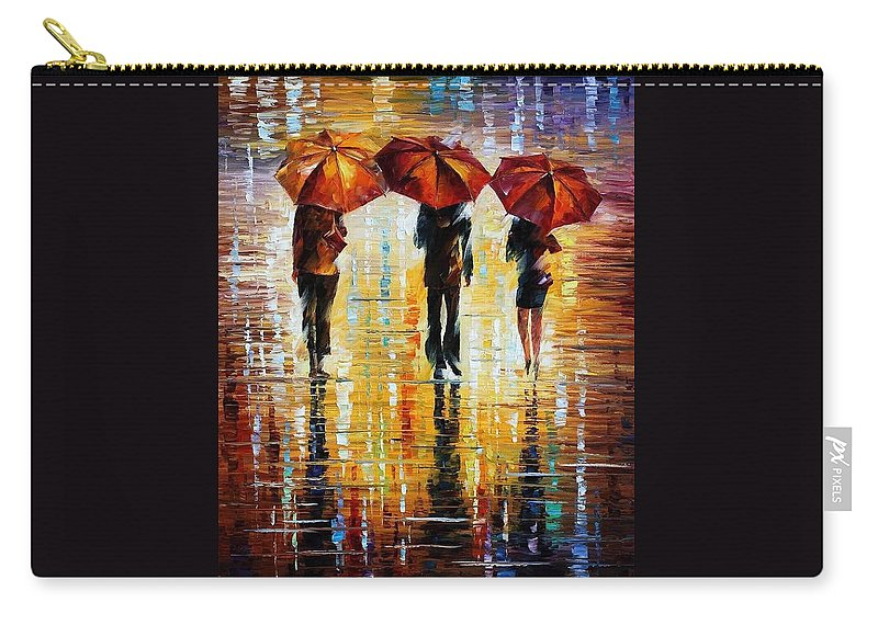 Afremov Carry-all Pouch featuring the painting Three Red Umbrellas by Leonid Afremov