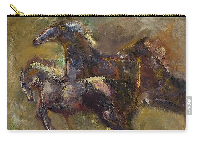 Horses Carry-all Pouch featuring the painting Three Set Free by Frances Marino