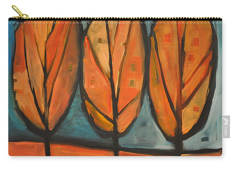 Trees Carry-all Pouch featuring the painting Three Sisters Fall by Tim Nyberg