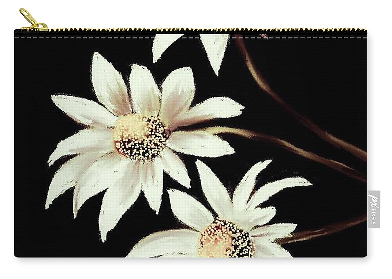 Floral Carry-all Pouch featuring the digital art Three Spring Daisies by Michele Koutris