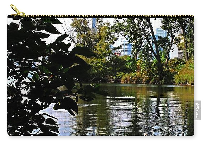 Swans Carry-all Pouch featuring the photograph Three Swans And The Cn Tower by Ian MacDonald