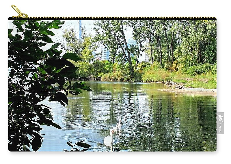 Swans Carry-all Pouch featuring the photograph Three Toronto Swans by Ian MacDonald