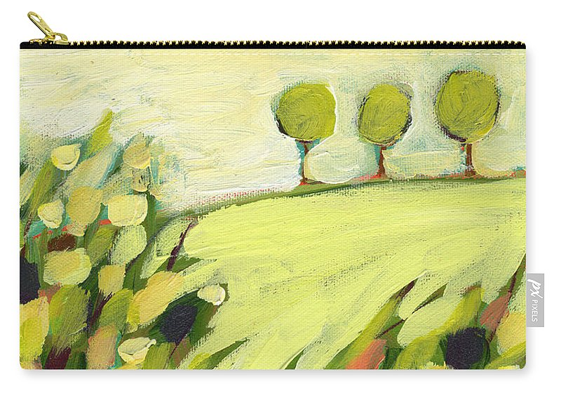 Landscape Carry-all Pouch featuring the painting Three Trees on a Hill by Jennifer Lommers