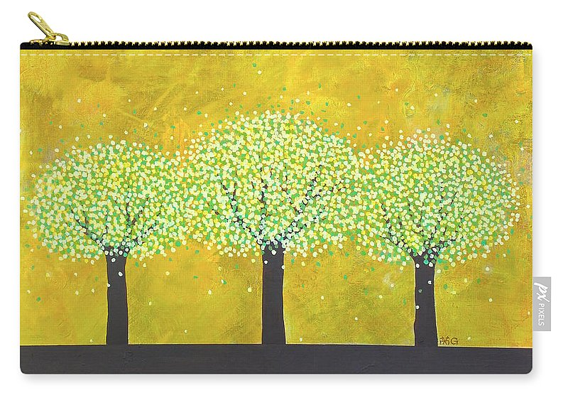 Trees Carry-all Pouch featuring the painting Three Trees by Wonju Hulse
