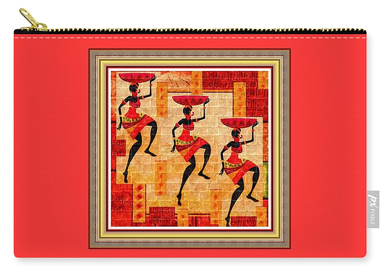 Tribal Carry-all Pouch featuring the painting Three Tribal Dancers L B With Decorative Ornate Printed Frame by Gert J Rheeders