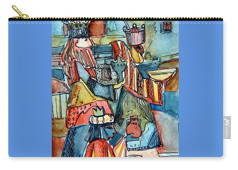 Wise Carry-all Pouch featuring the painting Three Wise Men by Mindy Newman
