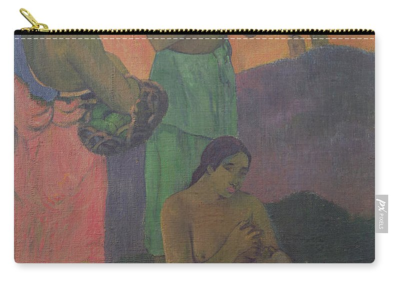 Maternity Carry-all Pouch featuring the painting Three Women On The Seashore by Paul Gauguin