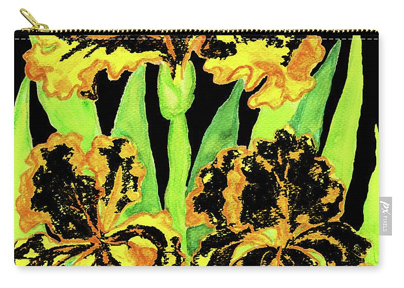 Iris Carry-all Pouch featuring the painting Three Yellow-black Irises, Painting by Irina Afonskaya