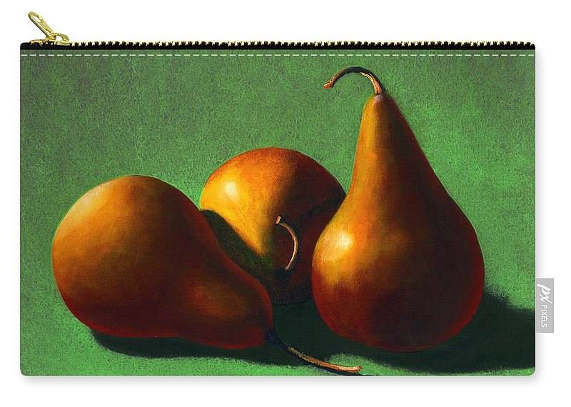 Still Life Carry-all Pouch featuring the painting Three Yellow Pears by Frank Wilson