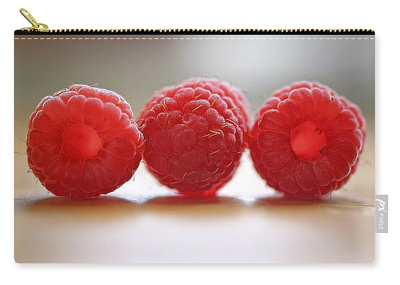 Raspberry Carry-all Pouch featuring the photograph Three's Company by Evelina Kremsdorf