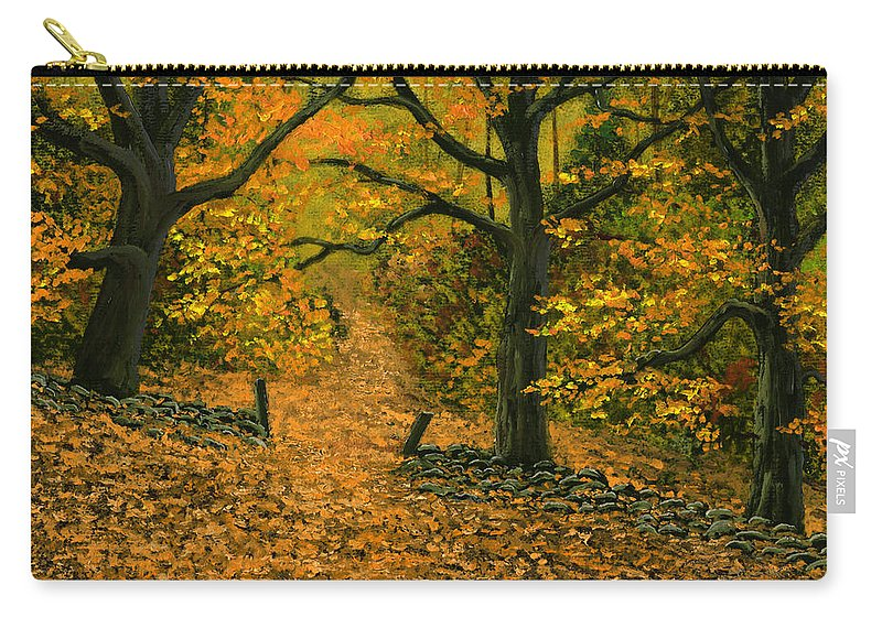 Landscape Carry-all Pouch featuring the painting Through The Fallen Leaves by Frank Wilson