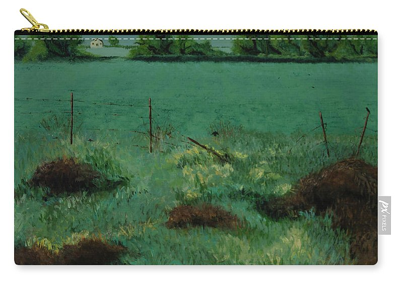 Carry-all Pouch featuring the painting Through The Fence by Beatriz Flores