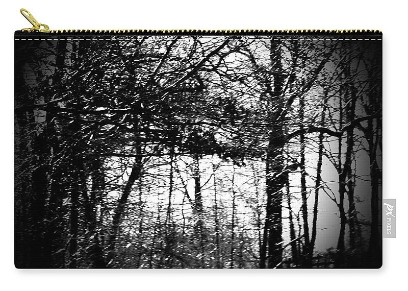Trees Carry-all Pouch featuring the photograph Through The Lens- Black And White by Charleen Treasures