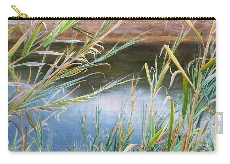 Bushes Carry-all Pouch featuring the painting Through The Thickets by Maya Bukhina