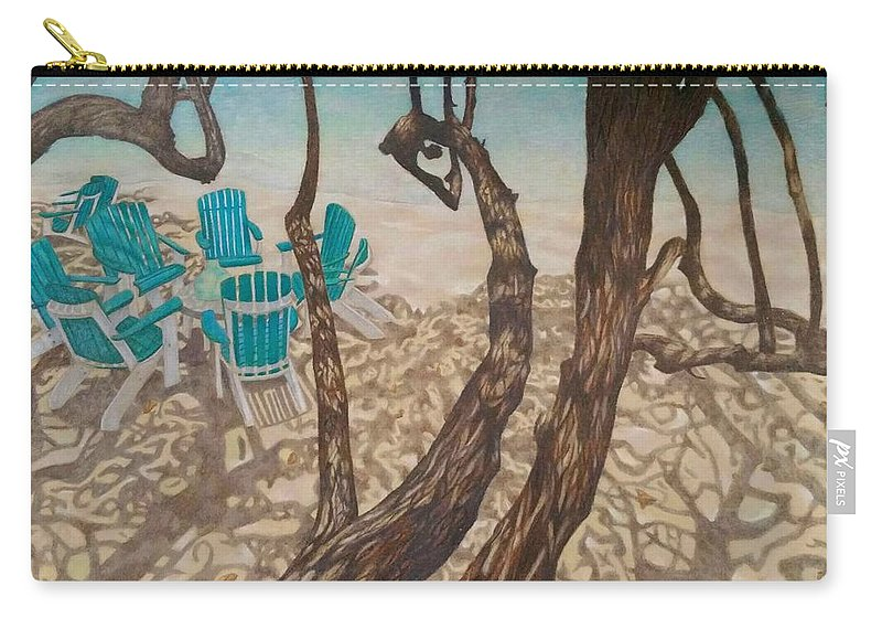 Beach Carry-all Pouch featuring the drawing Through The Trees, St John by Karleigh Clark