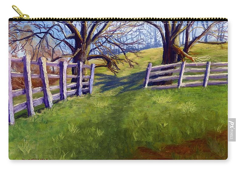 Pasture Carry-all Pouch featuring the painting Throught The Pasture Gate by Sharon E Allen