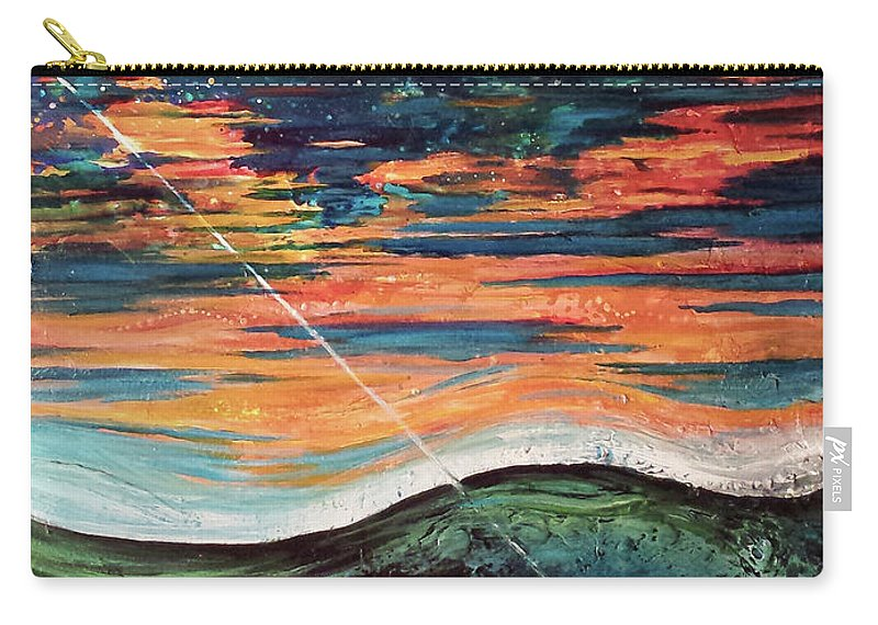 Abstract Sky Ocean Lake Fishing Lure Carry-all Pouch featuring the painting Thrown Right Through by Beth Waltz