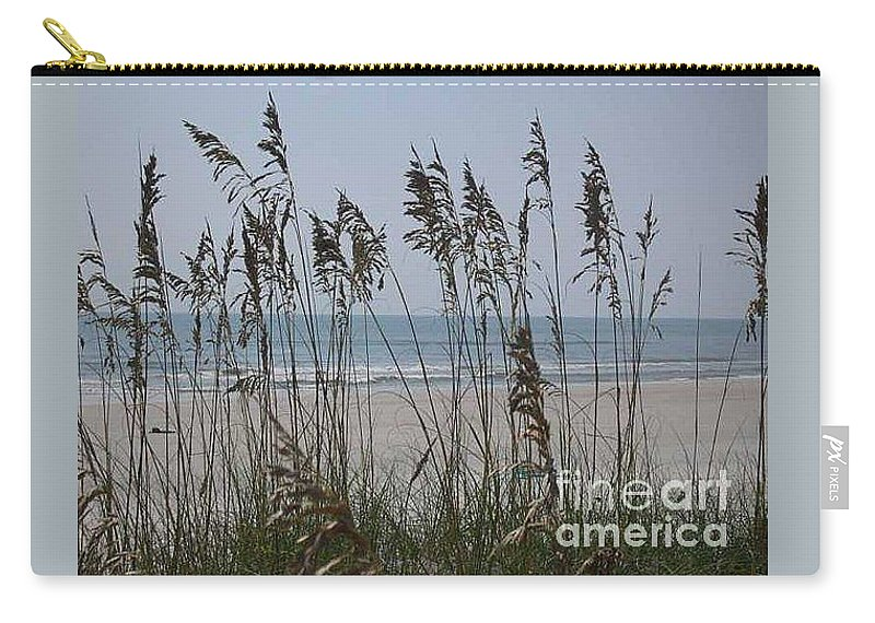 Florida Beach Near St. Augustine Carry-all Pouch featuring the photograph Thru The Sea Oats by Barb Montanye Meseroll