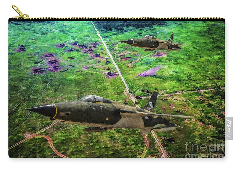 Republic F-105 Thunderchief Carry-all Pouch featuring the digital art Thuds Over Vietnam Oil by Tommy Anderson