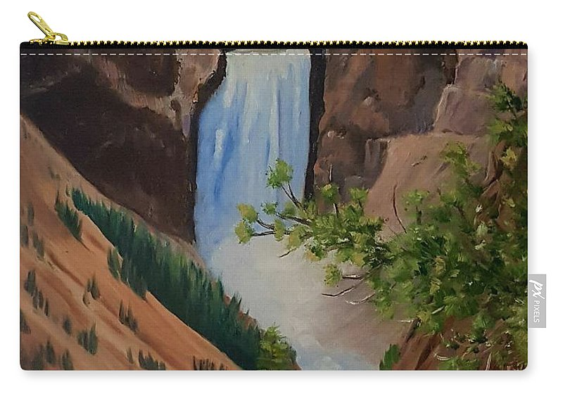 Waterfall Carry-all Pouch featuring the painting Thunder Falls by Susan Galassi