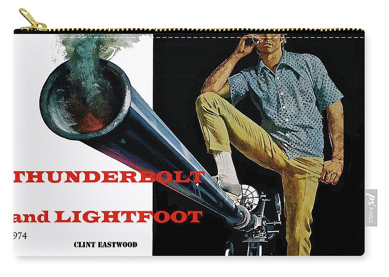 Thunderbolt And Lightfoot Carry-all Pouch featuring the mixed media Thunderbolt And Lightfoot, Clint Eastwood, Jeff Bridges by Thomas Pollart