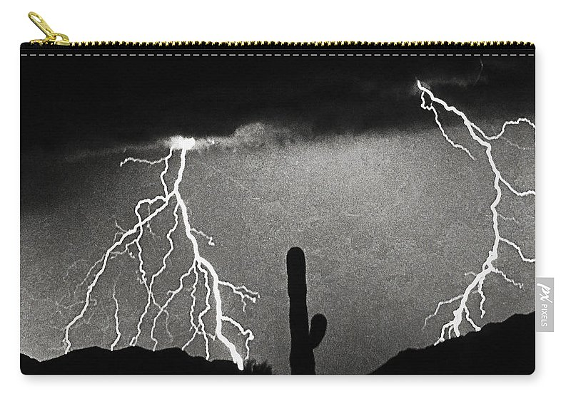 Lightning Carry-all Pouch featuring the photograph Thunderstorm Poster Print by James BO Insogna