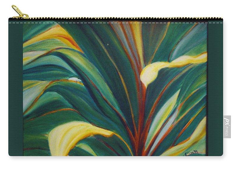 Foliage Carry-all Pouch featuring the painting Ti Leaves Too by Dina Holland
