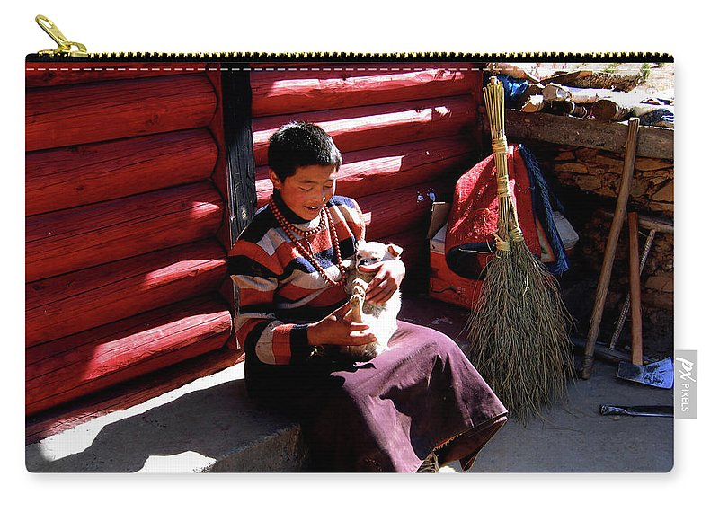 Tibetan Carry-all Pouch featuring the photograph Tibetan Boy by Tianxin Zheng