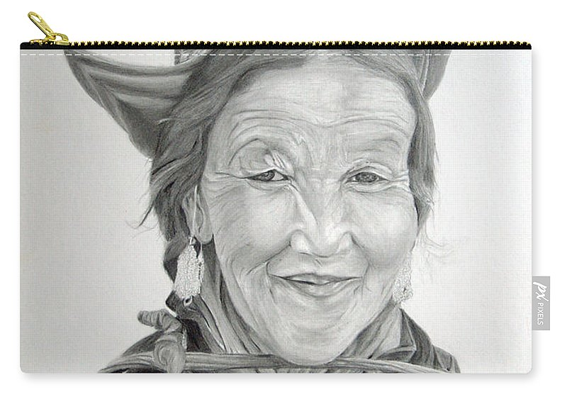 Figurative Art Carry-all Pouch featuring the drawing Tibetan Delight by Portraits By NC