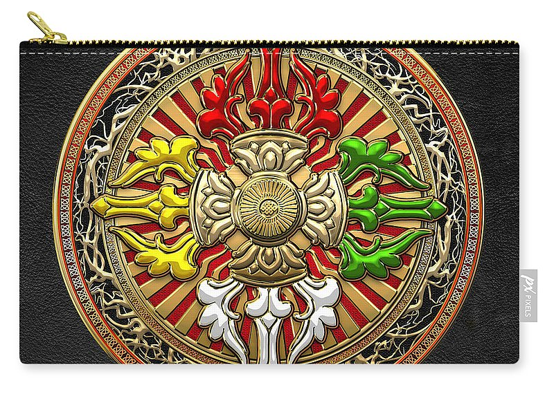 Treasures Of Tibet By Serge Averbukh Carry-all Pouch featuring the photograph Tibetan Double Dorje Mandala by Serge Averbukh