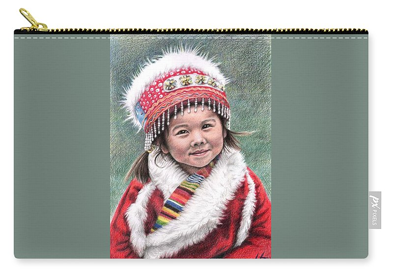 Girl Carry-all Pouch featuring the drawing Tibetan Girl by Nicole Zeug
