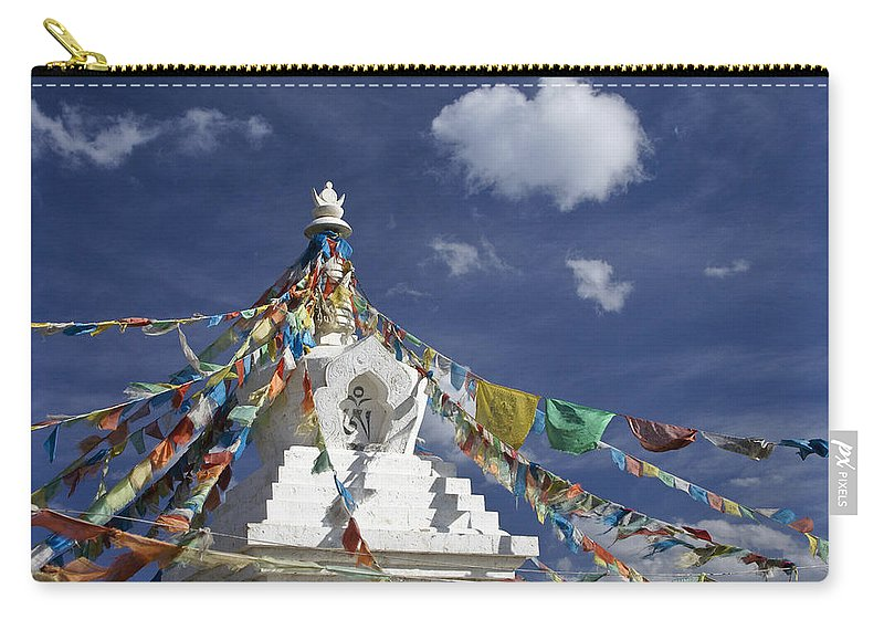 Asia Carry-all Pouch featuring the photograph Tibetan Stupa With Prayer Flags by Michele Burgess