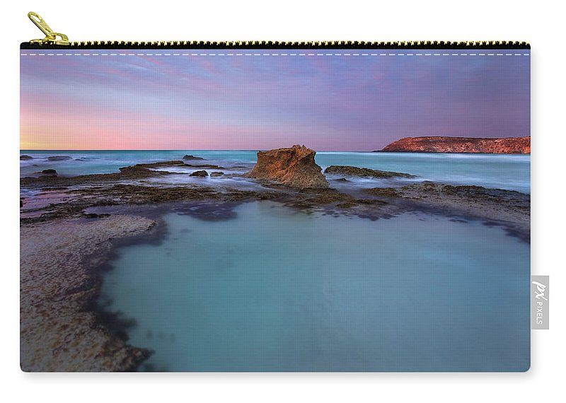 Seascape Tidepools Carry-all Pouch featuring the photograph Tidepool Dawn by Mike Dawson