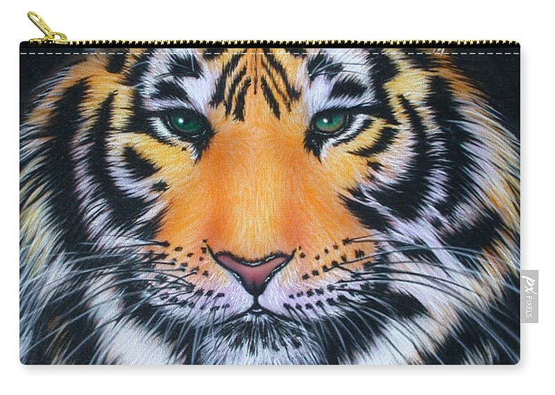 Tiger Carry-all Pouch featuring the painting Tiger 1 by Angie Hamlin