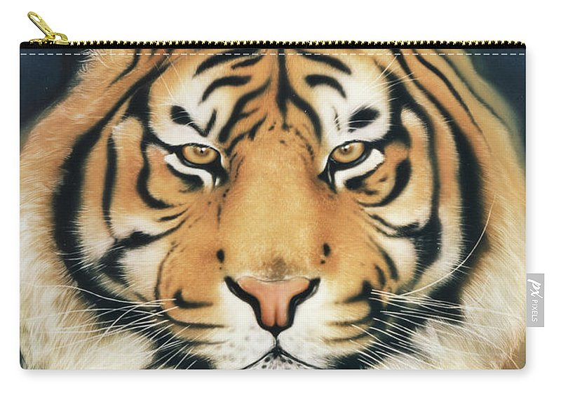 Panthera Tigris Carry-all Pouch featuring the painting Tiger At Midnight by Johannes Margreiter