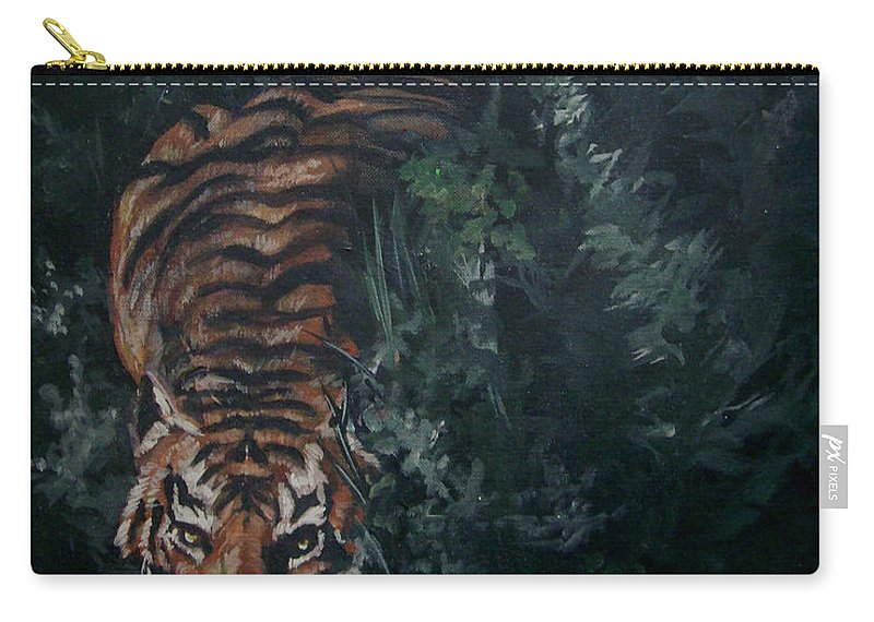 Tiger Carry-all Pouch featuring the painting Tiger by Bryan Bustard