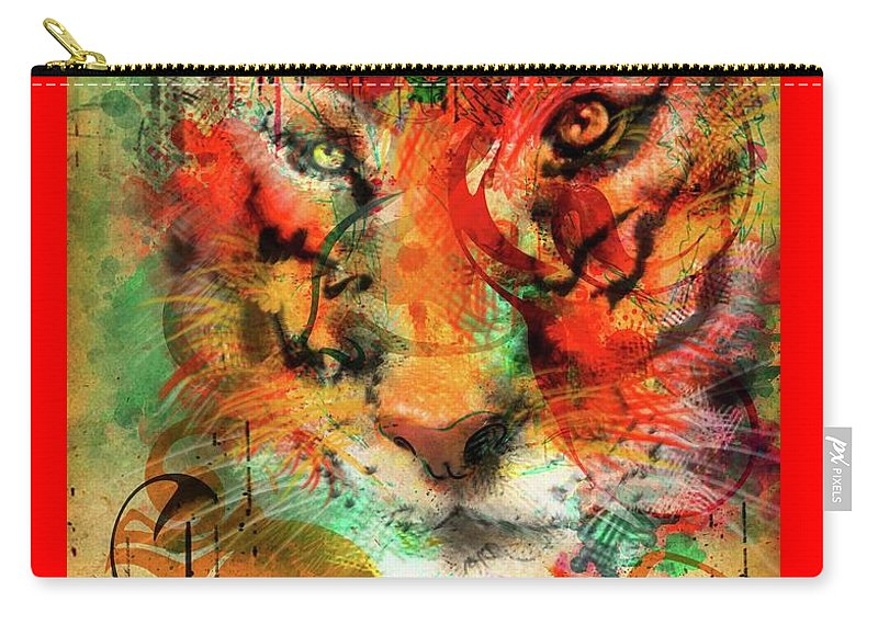 Tiger Carry-all Pouch featuring the painting Tiger Burning Bright by Tiffany Hunter