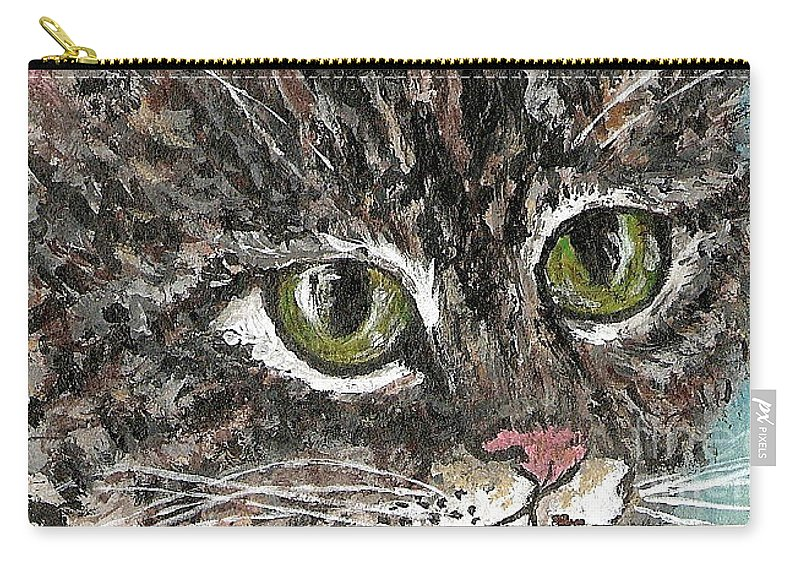 Cats Carry-all Pouch featuring the painting Tiger Cat by Reina Resto