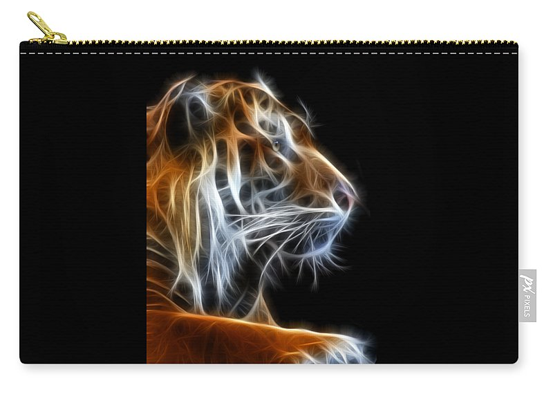 Tiger Carry-all Pouch featuring the photograph Tiger Fractal 2 by Shane Bechler