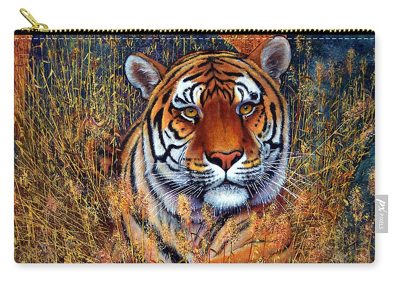 Tiger Carry-all Pouch featuring the painting Tiger by Frank Wilson