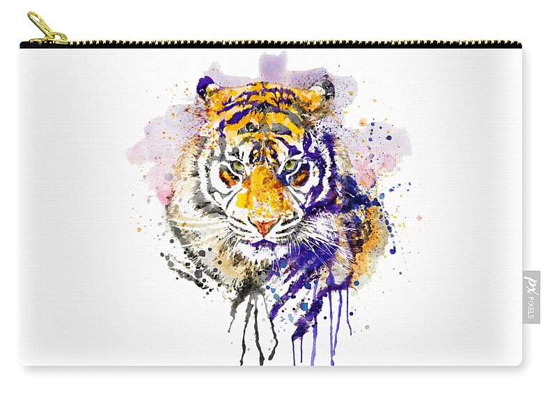 Tiger Carry-all Pouch featuring the painting Tiger Head Portrait by Marian Voicu